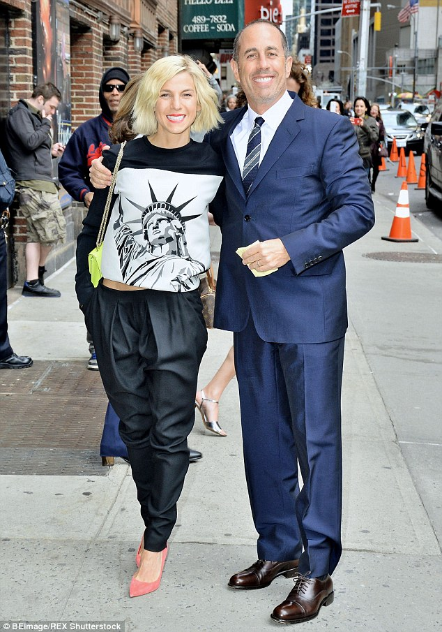 Is that fair: Jessica Seinfeld stole attention away from her famous husband Jerry at The Late Show With David Letterman by wearing a Statue Of Liberty top