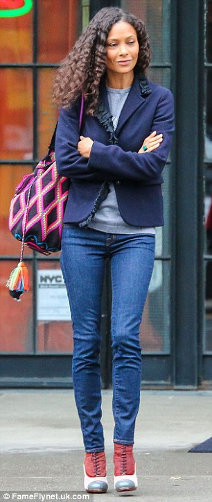 Easy fashion: She focused on a more casual look on Wednesday April 22 in denim jeans and a navy blue jacket