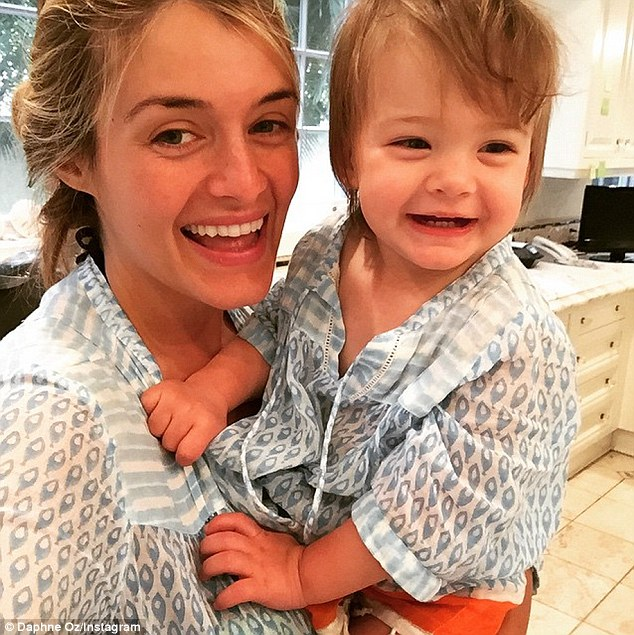 Her little one will have a sibling soon: The TV star holdingone-year-old Philomena in an Instagram snap