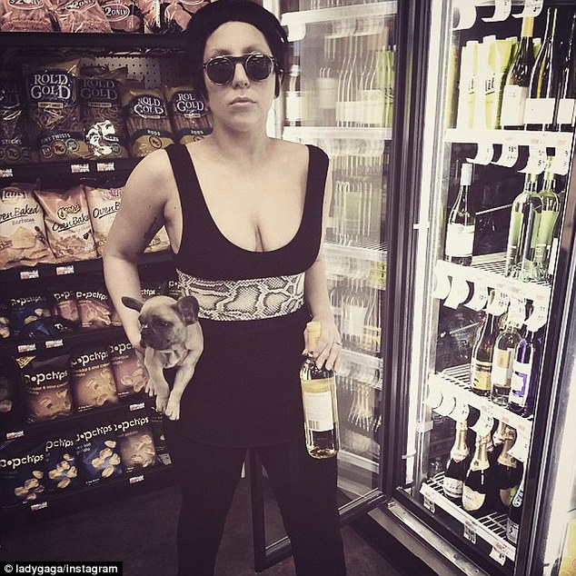 Supplies: Gaga and Koji stocked up on some wine before the dog got his first taste of a private jet