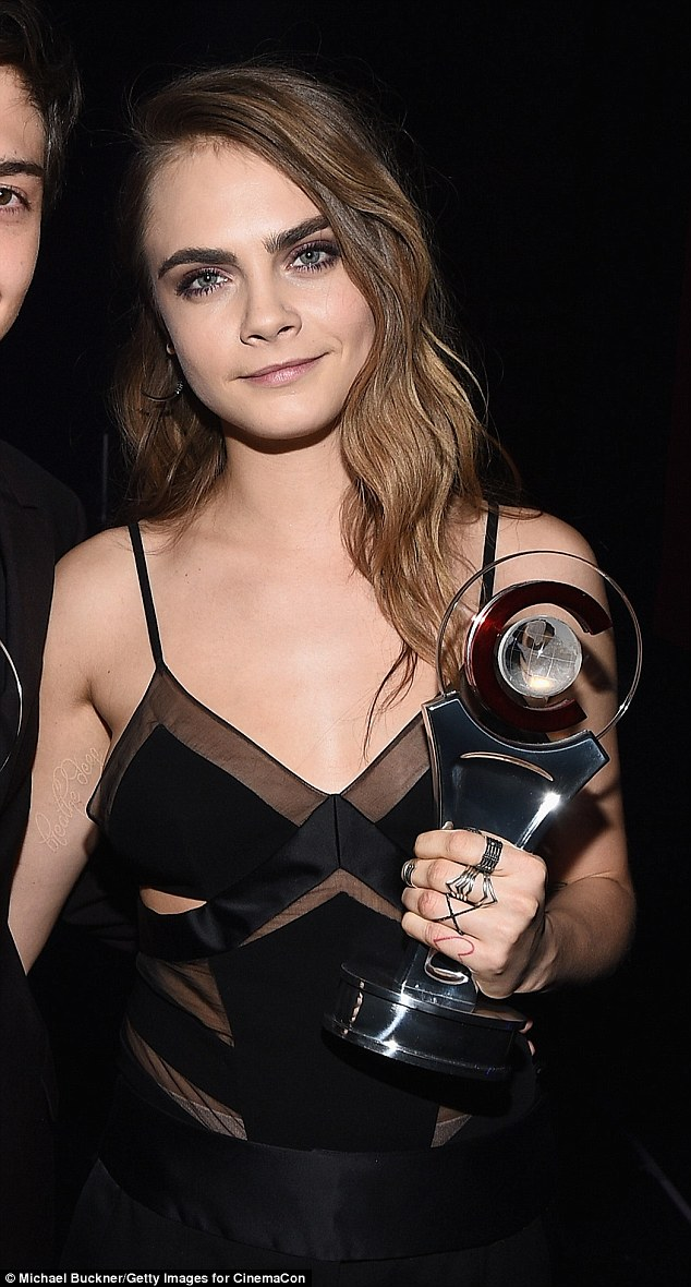 Congratulations! Cara Delevingne donned a sheer Alexandre Vauthier chemise to accept her CinemaCon Rising Star Award at Caesars Palace in Las Vegas Thursday