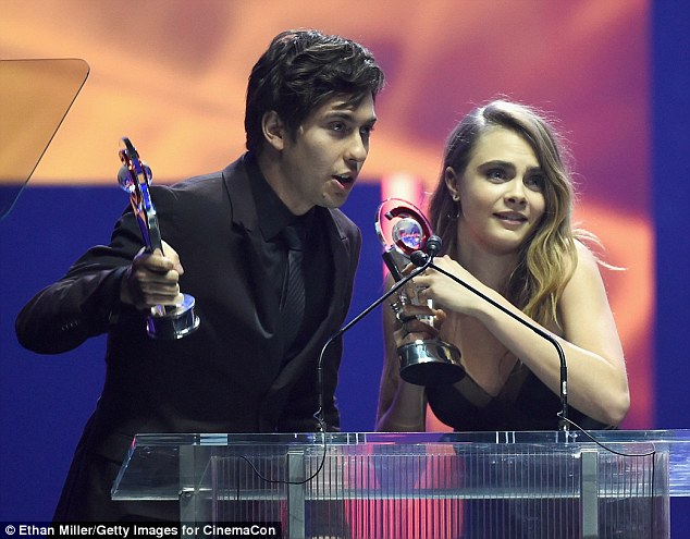 'Thank you to everyone who was involved!' The English wild child was joined at the podium by Paper Towns co-star (and fellow Rising Star) Nat Wolff to accept one of her first-ever acting prizes