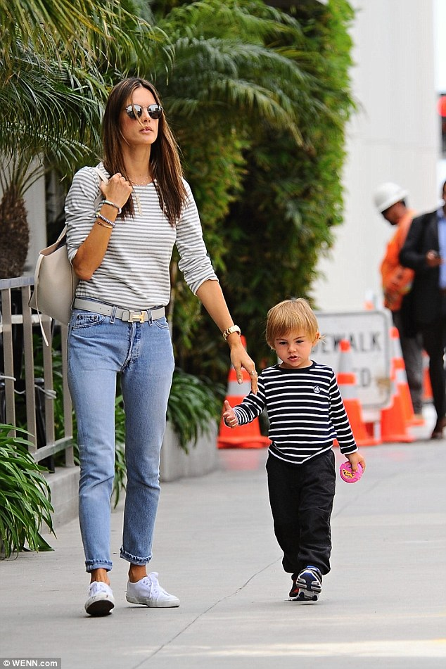 Lunch date! Alessandra Ambrosio was out for food in Bretwood California with her young son Noah Phoenix on Thursday
