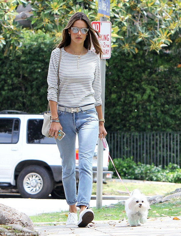 Classic style: She showed off her go-to off duty fashion of jeans and a t-shirt