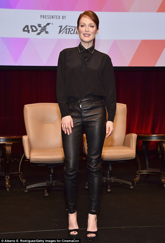 Leather mama! Julianne Moore rocked Givenchy leather trousers for CinemaCon at Caesars Palace in Las Vegas on Thursday