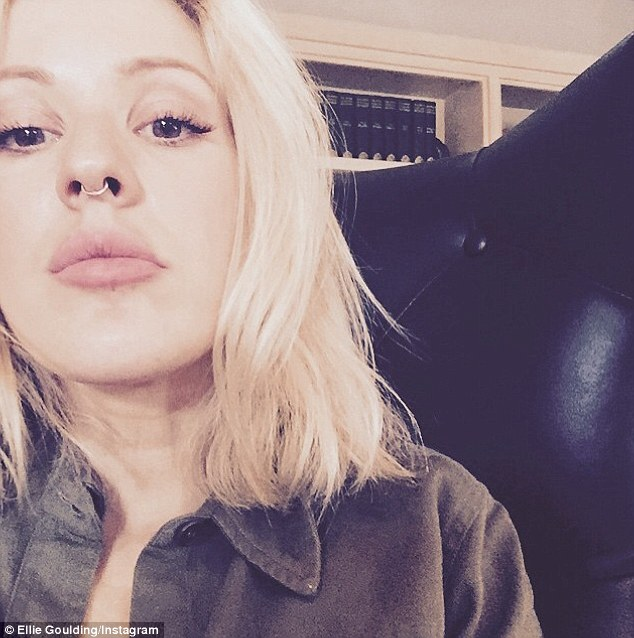 A nose for fashion! Ellie Goulding shared a picture of herself sporting a small silver septum ring on her social media sites on Friday
