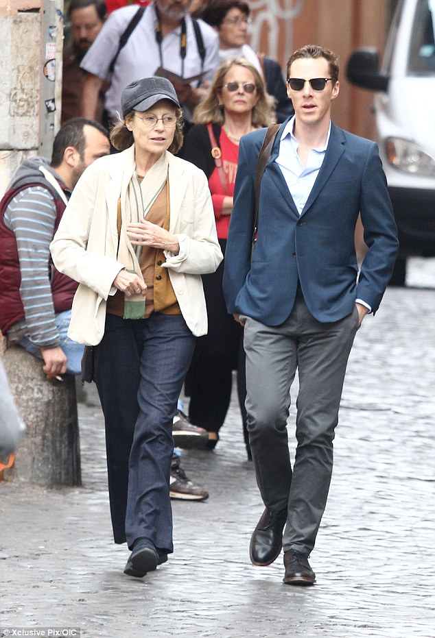 Blending in: The 2015 Oscar nominee looked like any other tourist as he enjoying a sightseeing tour on foot with his friend