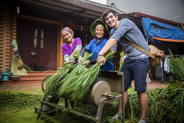 Getting involved: Donal immersed himself in the Vietnamese way of life, learning how to cook from locals