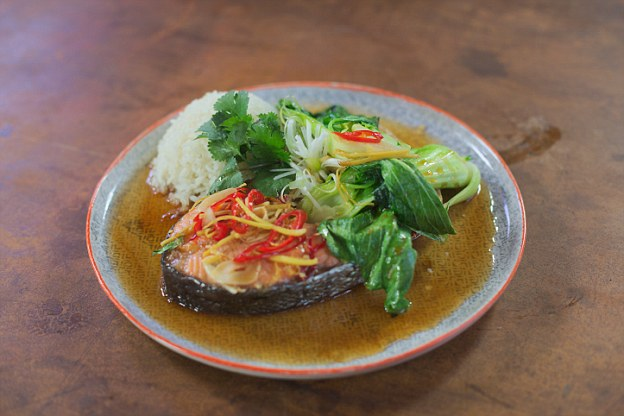 Caramel Salmon with Sticky Rice: The sticky and sweet caramel sauce is infused with wonderful aromas from ginger and chilli