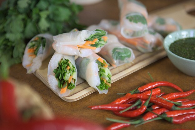 Fresh prawn spring rolls: Keep rice paper wrappers as a store cupboard ingredient. All you do is soak them in hot water and fill with your favourite ingredients for a quick starter