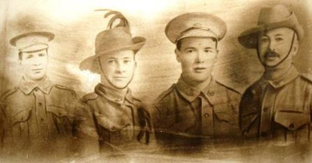 Actor Joel Edgerton's great grand-unclesSimon Phillip Comerford (left) and Laurence William Comerford (centre right), pictured here with comrades George (centre left) and Patrick (right), were on the battlefield in Gallipoli 100 years ago