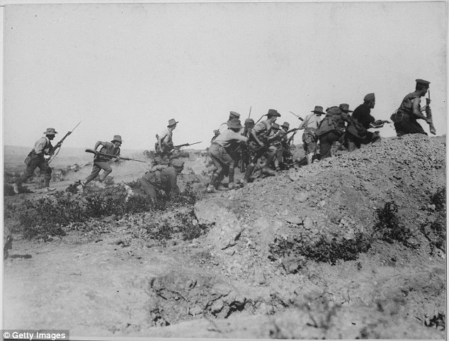 Soldiers are seen here attacking during the Gallipoli Campaign in 1915