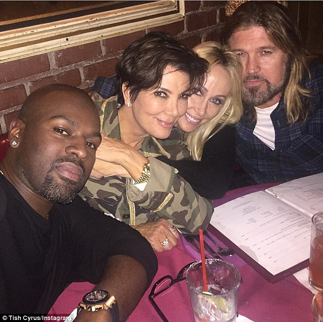 'Double date': Kris and boyfriend Corey Gamble had dinner with Miley Cyrus's parents Tish and Billy Ray on Wednesday night
