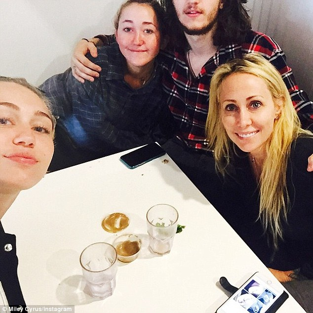 Support system: Miley was been surrounded by her family on Tuesday, just days after her split was announced