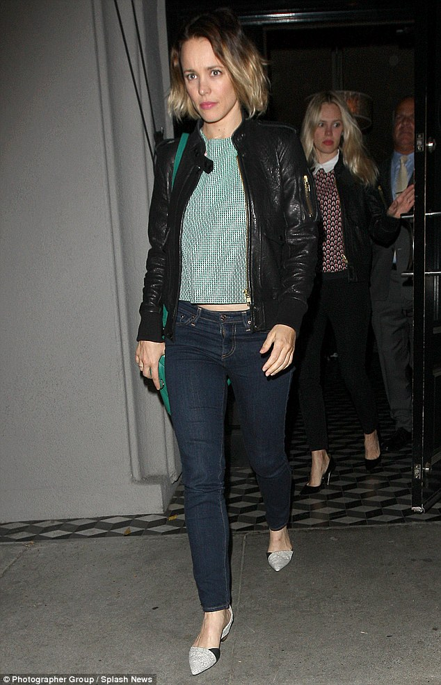 Friends only: Rachel McAdams wrapped up dinner at Craig's in Los Angeles on Wednesday night, just weeks after enjoying a meal with Jake Gyllenhaal