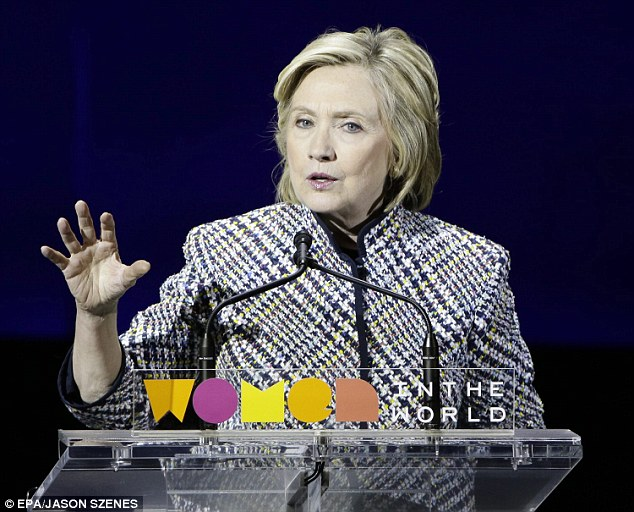 The New York native voiced support for WITW honoree Hillary Clinton, declaring: 'We know who we want to be the next president of the United States'