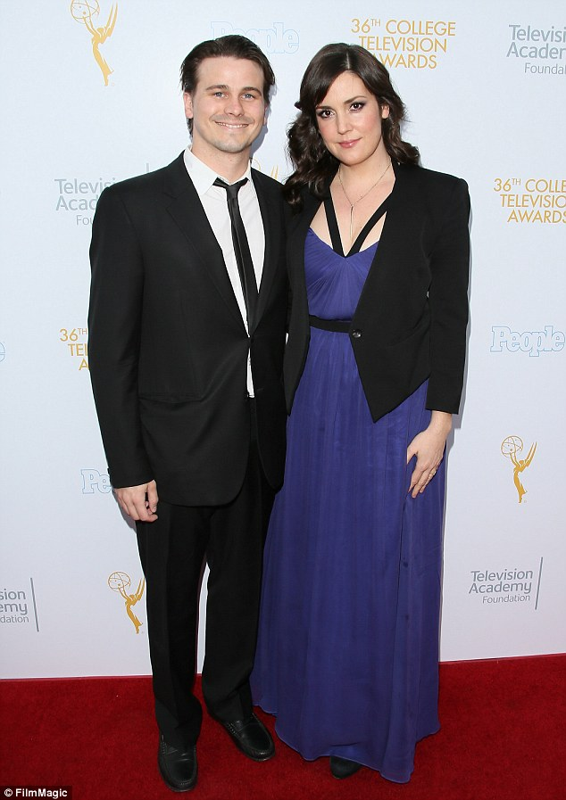 Coordinated: Actor Jason Ritter posed with actress Melanie Lynskey, both clad in structured black jackets