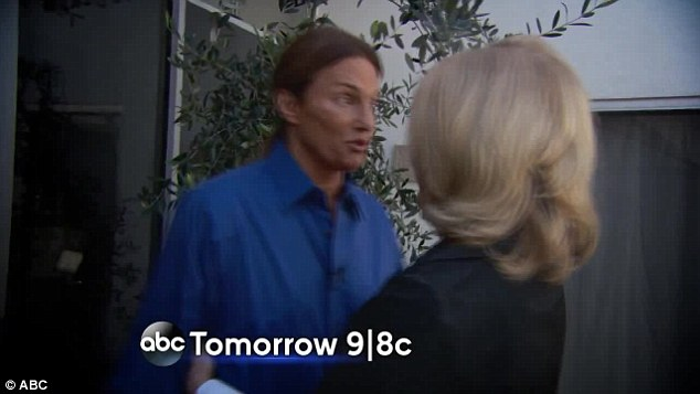 Nervous: Bruce Jenner is seen greeting Diane Sawyer at his home in the latest promo video released on Thursday ahead of the airing of his sit-down interview in which he is expected to address gender transition