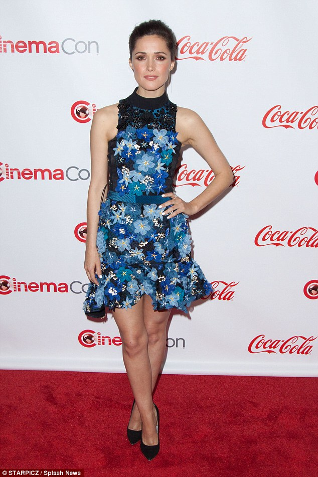 Lacy lady: Rose Byrne had no problem whipping her legs out on Friday when she attended the CinemaCon Big Screen Achievement Award in Las Vegas in a sexy little blue number