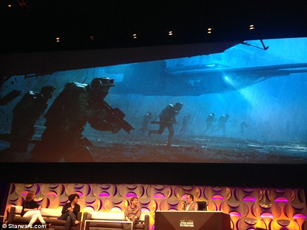 First look: Director Gareth Edwards revealed a glimpse of the movie at the Star Wars Celebration convention in Anaheim, California, on Sunday