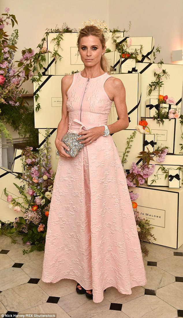 Ladylike: Model Laura Bailey embraced the theme in a rose-hued A-line dress with zip detailing