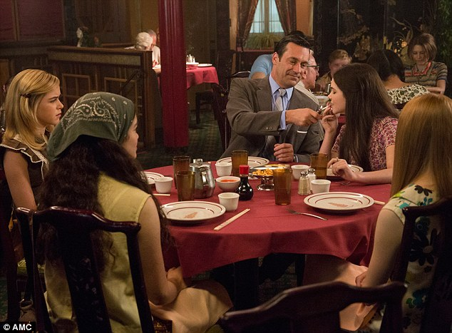 Sally Draper (Kiernan Shipka), Don Draper (Jon Hamm) and Sarah (Madison McLaughlin)