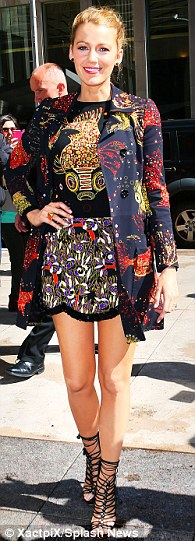 Quick change artist: Blake has worn 14 designer outfits in 48 hours during her promotional appearances in New York City this week