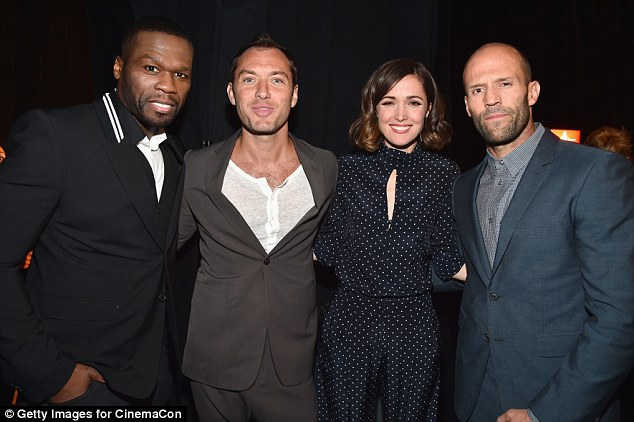 Bodyguards! Rose was flanked by her many leading men as they stayed together at the event