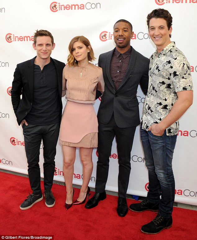 They really are Fantastic! (L to R) Jamie Bell, Kate Mara, Michael B. Jordan, and Miles Teller showed off their style credentials as they posed together at CinemaCon in Las Vegas