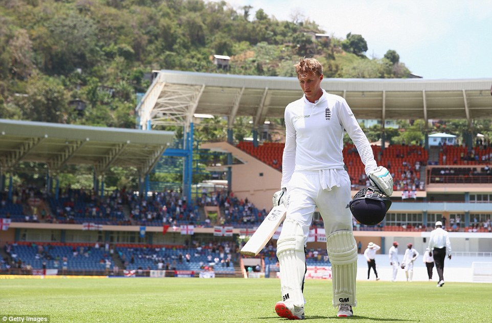 Joe Root leaves the field after being left stranded on 182 not out after a stunning display of batting on the fourth morning in Grenada
