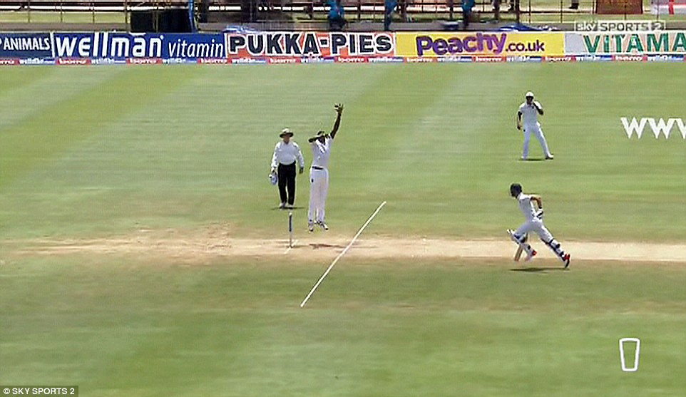 West Indies star Holder leaps in the air before hitting the stumps to end Root's chance of scoring 200 runs