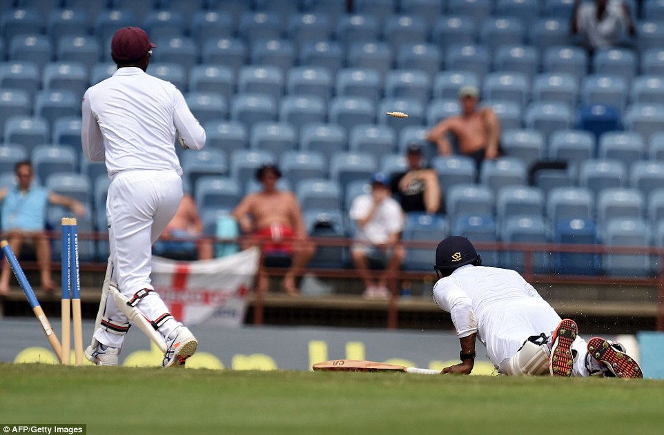 Chris Jordan was one of three English batsmen run out in their second innings, despite a despairing dive to make his ground