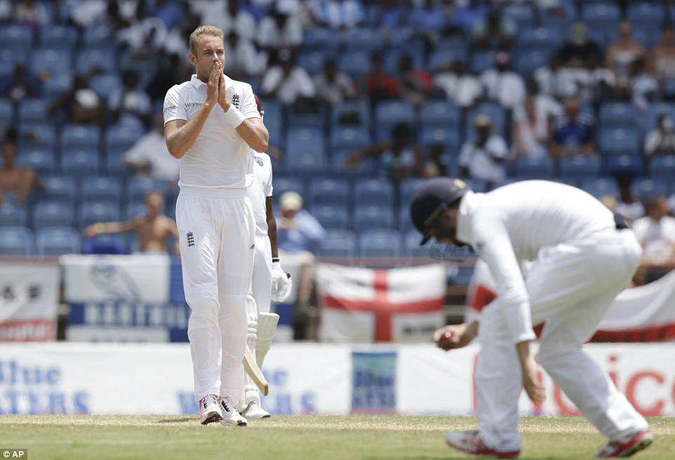 It looked like being a frustrating day all round for Broad, as the West Indies set about nullifying England's lead on a dead pitch