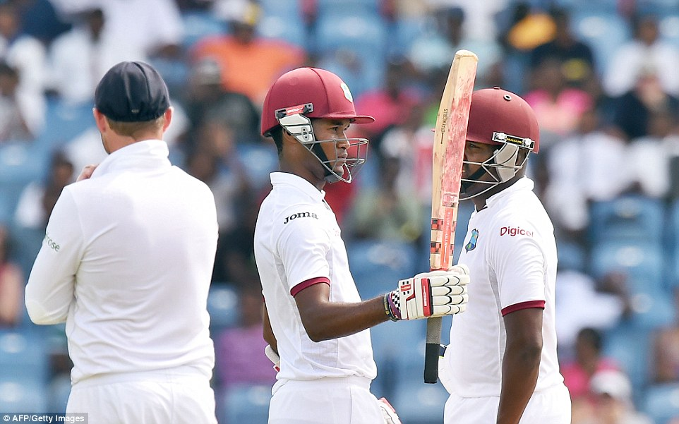 Brathwaite acknowledges the crowd after reaching his half-century, and the West Indies batsman would go on to make three figures