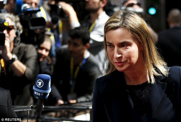 On the offensive: EU foreign policy chief Federica Mogherini (pictured) has been assigned to line up the diplomatic options that would allow EU militaries to strike against the boats used by traffickers
