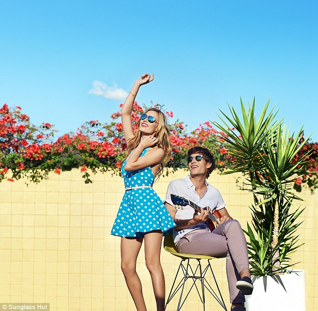 Fun times: The siblings let loose with the shoot as they struck a number of poses in the beaming sun in California while showcasing sunglasses of different shapes, colours and sizes