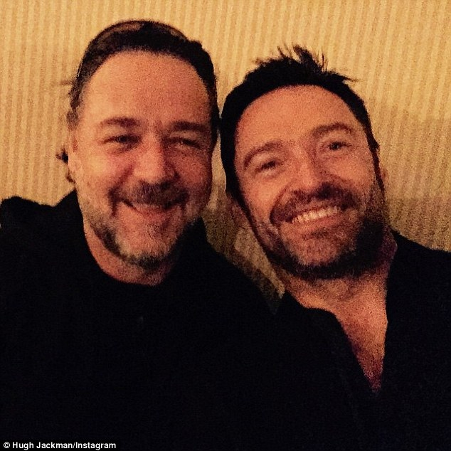 Bro-mance: He and Hugh were seen together on Instagram recently, with the Wolverine star singing the praises of Rusty's directorial debut