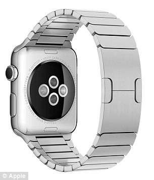 On the back of the Watch's case is a sensor (pictured) that uses infrared and visible-light LEDs and photodiodes to detect the wearer's heart rate