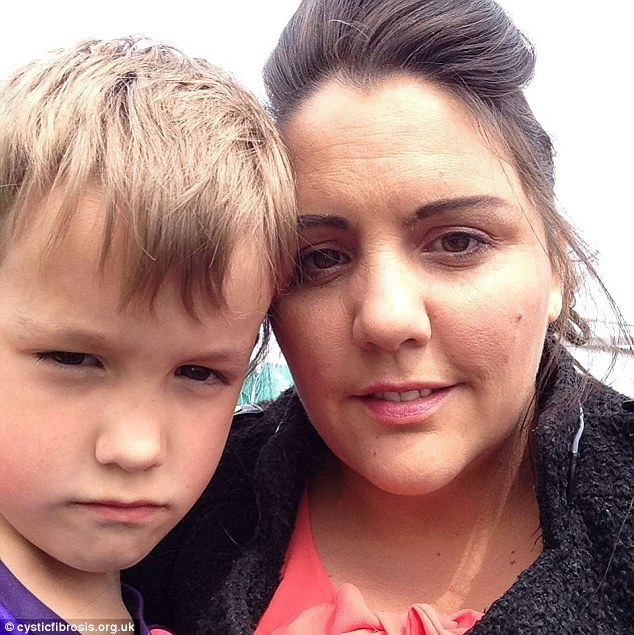 Jesse O'Brien, pictured with his mother Heidi, has to take a daily dose of 45 pills to treat cystic fibrosis