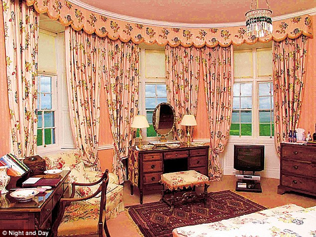 Regal: Old Etonian West and his wife, who have four children, wed at Glin in 2010. Above, one of the rooms