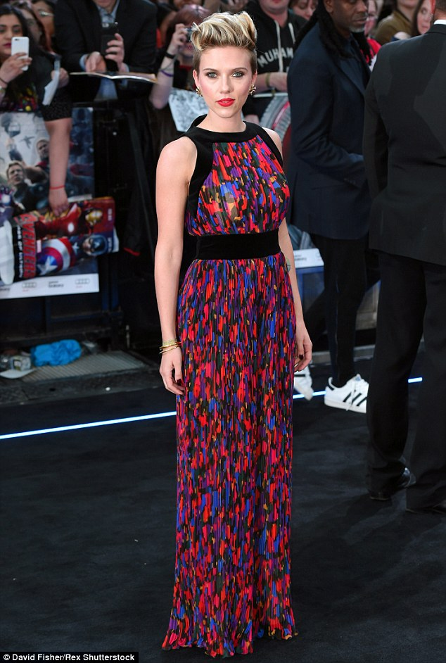 'I'm looking at scripts as an actor, not a female actor': Scarlett, pictured at the London premiere of the film on Tuesday, recently told MailOnline that gender politics didn't come into play when she decided to take on the role