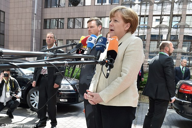 German Chancellor Angela Merkel was expected to press Greek PM Alexis Tsipras to move faster to agree detailed economic reforms crucial to unlock international bailout funds before Athens runs out of cash