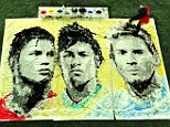 Having a ball: 'Red' Hong Yi creates paintings of World Cup stars Cristiano Ronaldo, Neymar and Lionel Messi using her feet