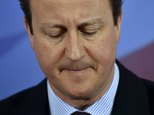 Britain's Prime Minister David Cameron addresses supporters during an event in Lincoln, England, Friday April 24, 2015. Cameron courted English voters on Fri...