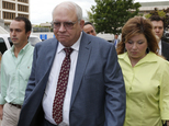 File - In this April 21, 2015 file photo, Robert Bates, second from right, leaves his arraignment in Tulsa, Okla. Bates, a 73-year-old Tulsa County reserve d...