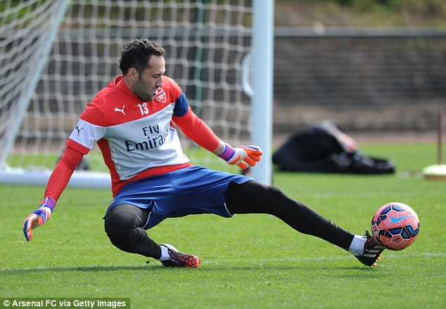 Arsenal goalkeeper David Ospina pictured during a training session at London Colney last week