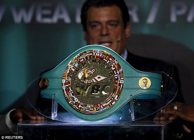 The WBC title belt that will be presented to either Pacquiao or Mayweather at the MGM Grand next Saturday