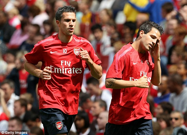 Fabregas trains with another Arsenal star to leave the Emirates, Robin van Persie, in 2010