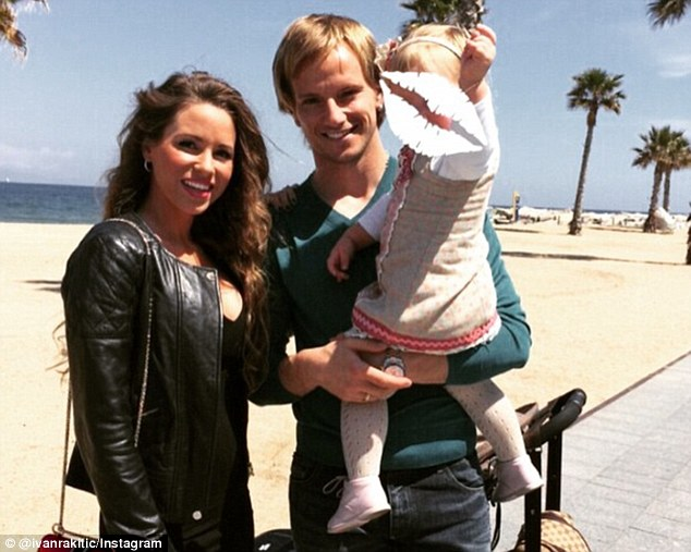 Barcelona man Rakitic also shared a picture with his wife and daughter, who he described as his 'princesses'