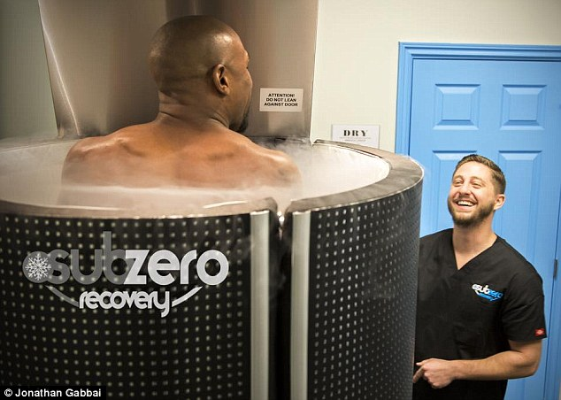 Floyd Mayweather Jnr sits in a  kriotherapy ice chamber ahead of his mega-fight with Manny Pacquiao